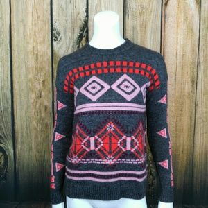 J crew abstract fair isle sweater size xxs